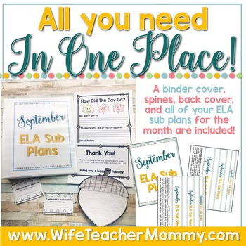 September Sub Plans ELA for 3rd, 4th, and 5th Grades. Back to School