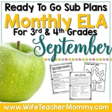 September Sub Plans ELA for 3rd, 4th Grades. Fall themed no prep activities.