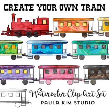 Create a Train Clip Art -  Watercolor