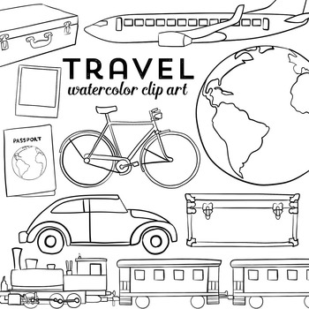Transportation and Travel Clip Art Watercolor