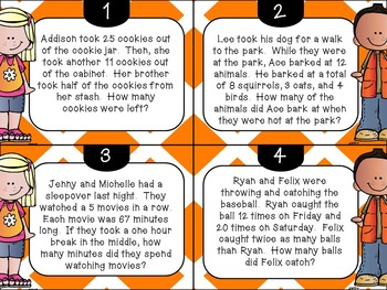 Multi Step Word Problem Task Cards