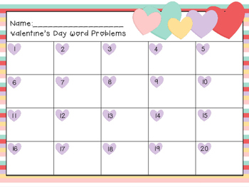 Valentines Day Word Problem Task Cards