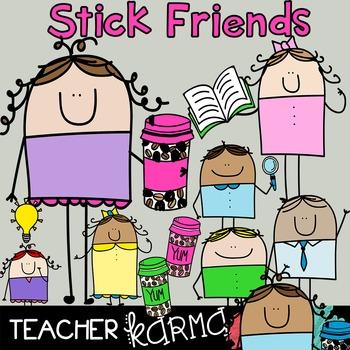 Stick Friends - Teachers & Students CLIPART * FREE MUG Gra