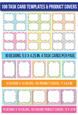 100 Task Card Templates Flash Card Templates Borders and T