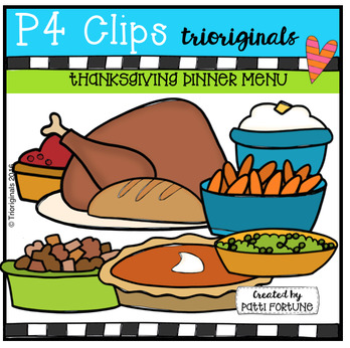 Thanksgiving Turkey Dinner Menu (P4 Clips Trioriginals)