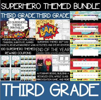 Third Grade Superhero Supplies Bundle