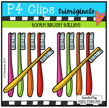 Tooth Brush Tallies (P4 Clips Triorginals Clip Art)