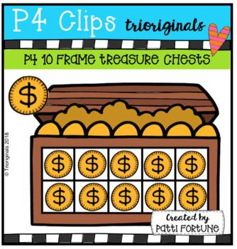P4 10 FRAME Treasure Chests (p4 Clips Trioriginals Clip Art)