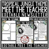 Jungle Theme Welcome Back to School Letters Editable: Meet The Teacher Template