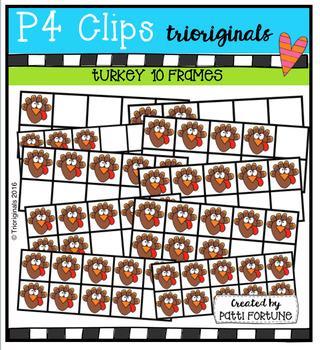 Turkey 10 Frames (P4 Clips Trioriginals Digital Clip Art)