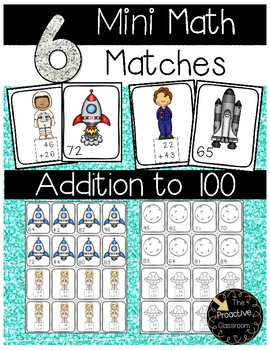 Two Digit Addition With and Without Regrouping Mini Math Matches Space Center