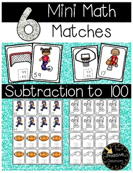 Two Digit Subtraction With and Without Regrouping Mini Math Matches Sports