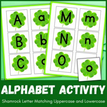 Upper Case & Lower Case Letter Matching Activity - Shamrocks