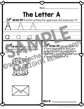 Valentines Day Activities Pre-K, Kindergarten, 1st Alphabet Worksheets