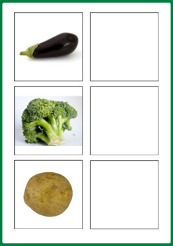 Vegetables Matching Activities