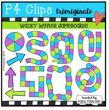 Wacky Winter Game Boards (P4 Clips Trioriginals Digital Clip Art)