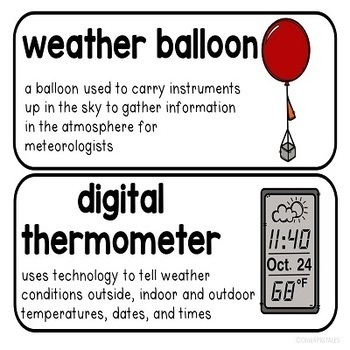 Weather Seasons and Climate Vocabulary Word Wall Cards