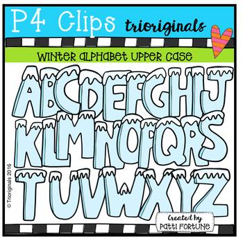 Winter Alphabet Upper Case (P4 Clips Trioriginals Digital Clip Art)