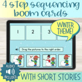 Winter Theme 4 Step Sequencing Boom Cards™ with Short Stories