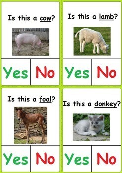 Yes/No Questions Clip Cards- Farm Animals and their Babies