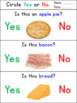 Food Yes No Questions for Special Education