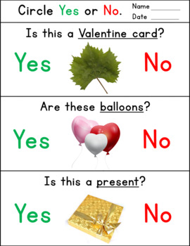 Valentine`s Day Activity for Special Education - Yes No Questions