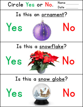Christmas Worksheets - Yes No Questions for Speech Therapy