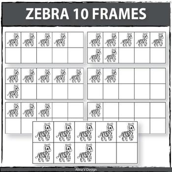 Zebra 10 Frames Clipart