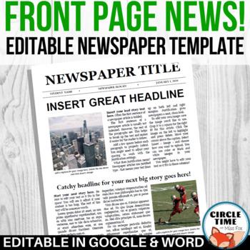 Newspaper Headline Template from ecdn.teacherspayteachers.com
