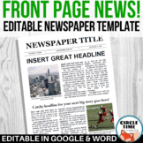 EDITABLE Newspaper Front Page Template, Google Docs & Micr