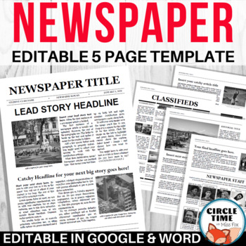 EDITABLE Newspaper Template, Google Docs & Microsoft Word, Virtual Group Project