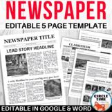 EDITABLE Newspaper Template / School Newsletter / Student
