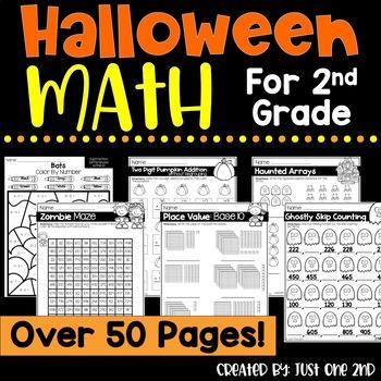 NO PREP Halloween Math Worksheets for 2nd Grade