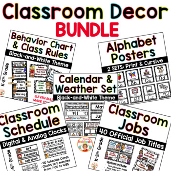 Classroom Decor BUNDLE - Black and White Theme