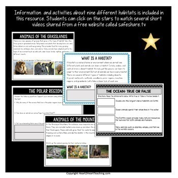Animal Habitats Digital Resource for Google Drive and Google Classroom