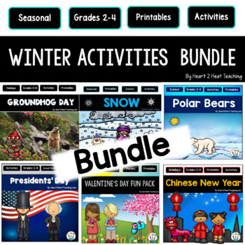 Winter Activities Bundle: Snow, Chinese New Year, President's Day, Groundhog Day