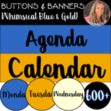Digital Classroom Decor Buttons and Banners BUNDLE Whimsical Blue and Gold