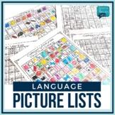 No Prep Language Picture Lists