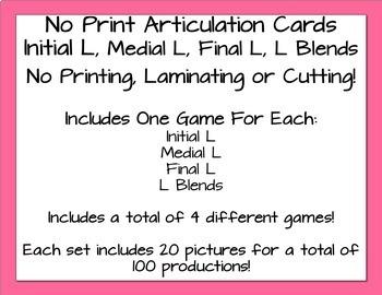No Print Articulation Flash Cards - L & L Blends
