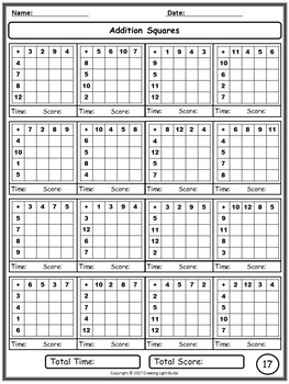 Addition Squares. Enough for the Whole Year!