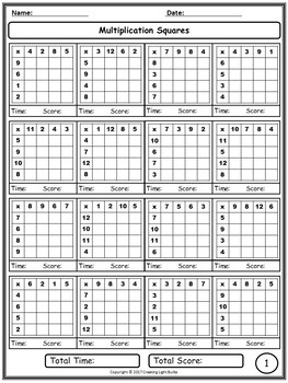 Multiplication Squares. Enough for the Whole Year!