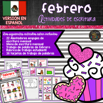 Spanish February Writing Prompts and Word Work