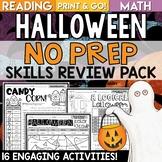 Halloween Activities NO PREP Reading and Math