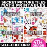 4th Grade Math Center Printables | Secret Picture Tile MEG