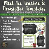 Meet the Teacher and Class Newsletter Templates - Editable Green Chalkboard