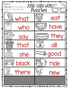 Sight Words Kindergarten Practice Primer