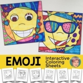 Emoji Coloring Pages+Writing Prompts - Fun Summer or End o