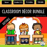 Orange, Red, and Lime Green Classroom Decor Bundle EDITABLE #1