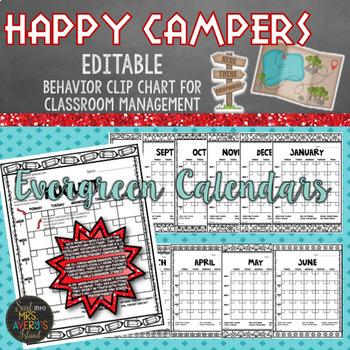 Camping Behavior Clip Chart - Classroom Management - EDITABLE