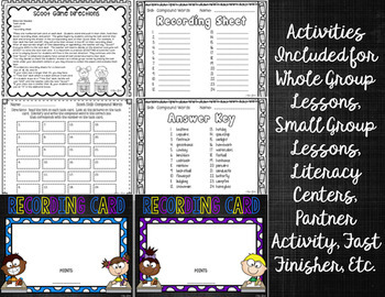 Compound Words Task Cards and Whiteboard Activity